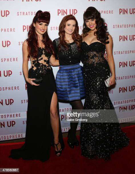 Singer Lisa Marie model and television personality Holly Madison and model Claire Sinclair arrive at the anniversary celebration of the show 'Pin Up'...