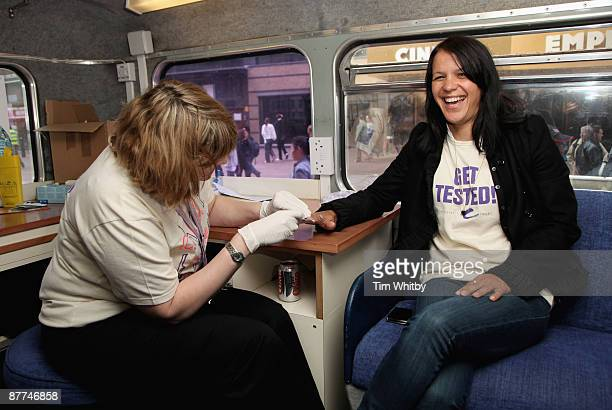 Singer Lisa Moorish gets tested for Hepatitis B and Hepatitis C to promote getting tested ahead of World Hepatitis Day 2009 on the first ever 'Get...
