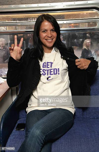 Singer Lisa Moorish poses after getting tested for Hepatitis B and Hepatitis C to promote getting tested ahead of World Hepatitis Day 2009 on the...