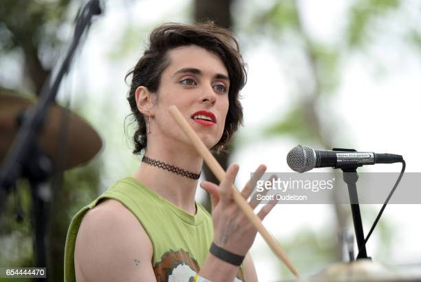 Singer Liv Bruce of the band PWR BTTM performs onstage during the Pitchfork SXSW Day Party at the French Legation Museum on March 16 2017 in Austin...