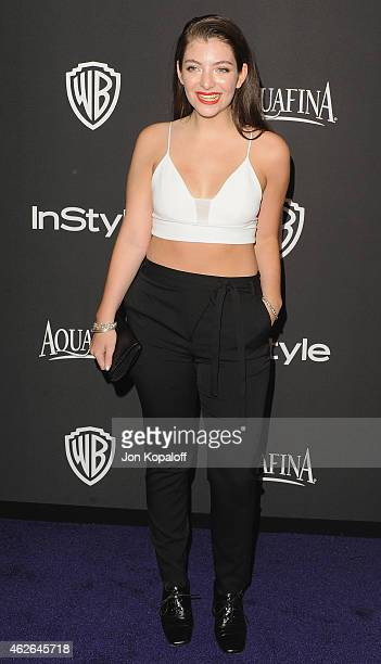 Singer Lorde arrives at the 16th Annual Warner Bros And InStyle PostGolden Globe Party at The Beverly Hilton Hotel on January 11 2015 in Beverly...