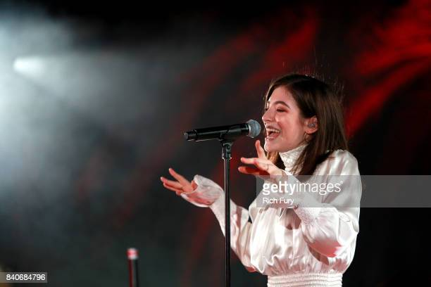 Singer Lorde performs during the iHeartRadio Secret Sessions by ATT at the magical Houdini Estate on August 29 2017 in Los Angeles California