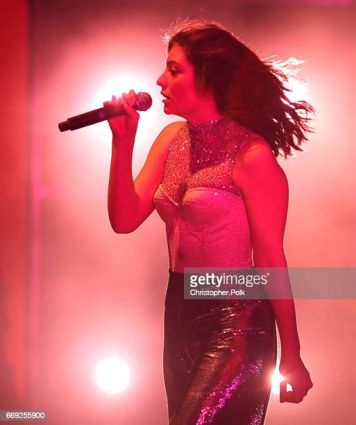 Singer Lorde performs on the Coachella Stage during day 3 of the Coachella Valley Music And Arts Festival at the Empire Polo Club on April 16 2017 in...