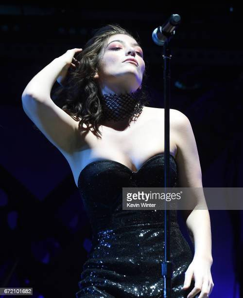 Singer Lorde performs on the Coachella Stage during day 3 of the Coachella Valley Music And Arts Festival on April 23 2017 in Indio California