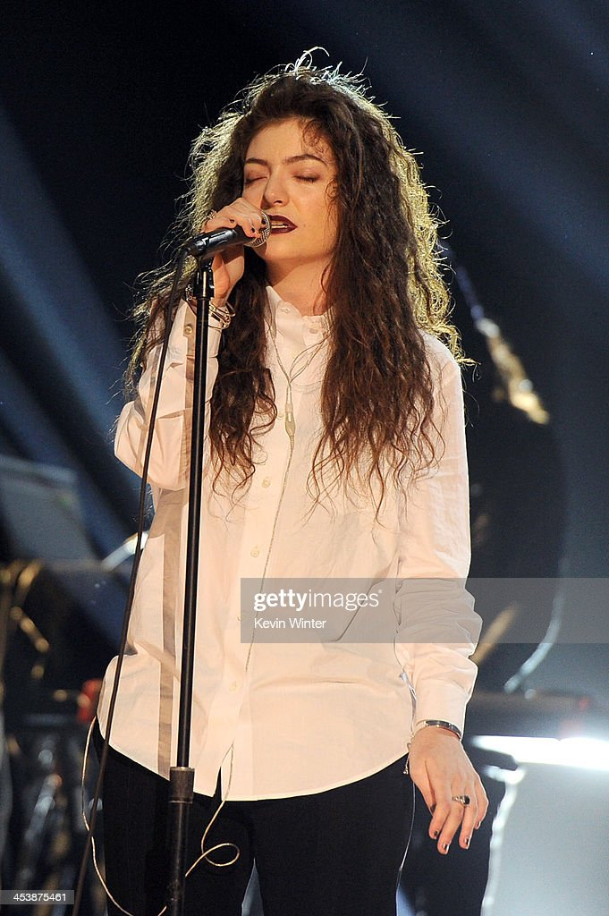 Singer <a gi-track='captionPersonalityLinkClicked' href=/galleries/search?phrase=Lorde&family=editorial&specificpeople=3209104 ng-click='$event.stopPropagation()'>Lorde</a> performs onstage during the rehearsals for The GRAMMY Nominations Concert Live!! Countdown to Music's Biggest Night at Nokia Theatre L.A. Live on December 5, 2013 in Los Angeles, California.