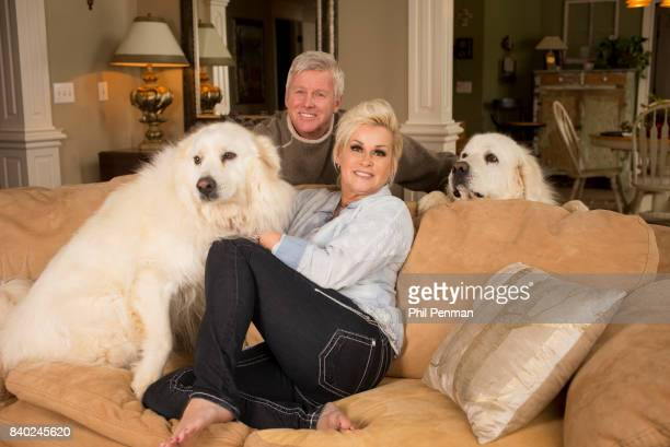 Singer Lorrie Morgan and husband Randy White are photographed with dogs for Closer Weekly Magazine on January 20 2016 at home in Tennessee