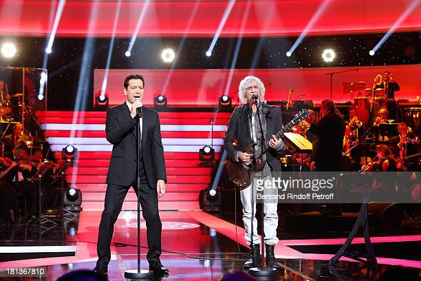 Singer Louis Bertignac and humorist Laurent Gerra perform at 'Le Grand Show' by Laurent Gerra Rehearsal at La Plaine Saint Denis on September 20 2013...