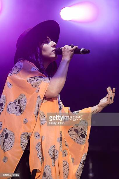 Singer Loulou Ghelichkhani of Thievery Corporation performs at the Squamish Valley Music Festival on August 10 2014 in Squamish Canada