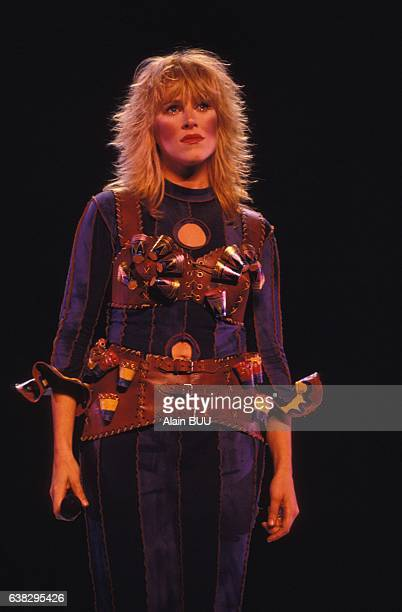 Singer Luce Dufault in the musical Starmania at the théâtre Mogador staged by Lewis Furey on September 28 1993 in Paris France