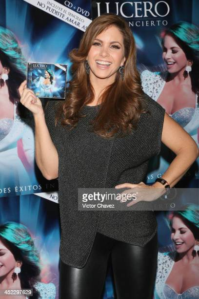Singer Lucero attends a press conference and photocall to promote her new album 'Lucero En Concierto' at Cinepolis Plaza Carso on November 27 2013 in...