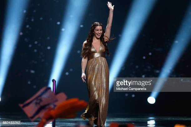 Singer Lucie Jones representing the United Kingdom is seen on stage during the rehearsal for ''The final of this year's Eurovision Song Contest'' at...
