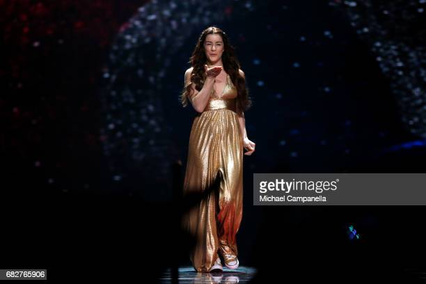 Singer Lucie Jones representing the United Kingdom is seen on stage during the final of the 62nd Eurovision Song Contest at International Exhibition...