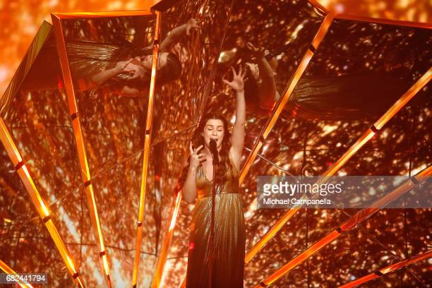 Singer Lucie Jones representing the United Kingdom performs the song 'Never Give Up On You' during the rehearsal for ''The final of this year's...