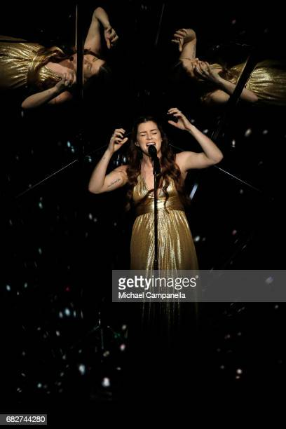Singer Lucie Jones representing the United Kingdom performs the song 'Never Give Up On You' during the final of the 62nd Eurovision Song Contest at...