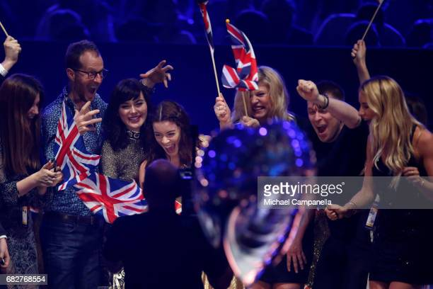 Singer Lucie Jones representing the United Kingdom reacts during the final of the 62nd Eurovision Song Contest at International Exhibition Centre on...