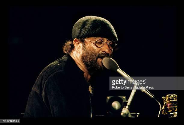 BOLOGNA ITALY Singer Lucio Dalla performs at la Festa dell'Unita' on September 01 1981 in Bologna Italy