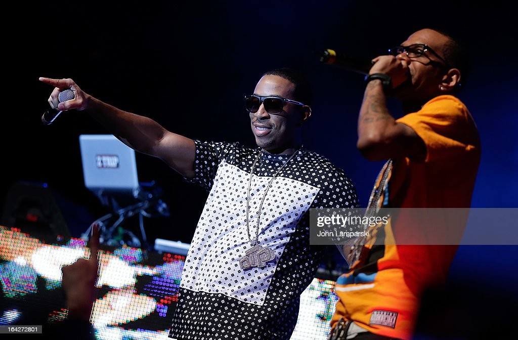 Singer <a gi-track='captionPersonalityLinkClicked' href=/galleries/search?phrase=Ludacris&family=editorial&specificpeople=203034 ng-click='$event.stopPropagation()'>Ludacris</a> (L) performs at the BlackBerry Z10 Launch Event at Best Buy Theater on March 21, 2013 in New York City.
