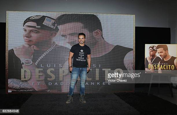 Singer Luis Fonsi attends a press conference to promote his new single 'Despacito' featurin Daddy Yankee in Mexico City at Universal Music on January...