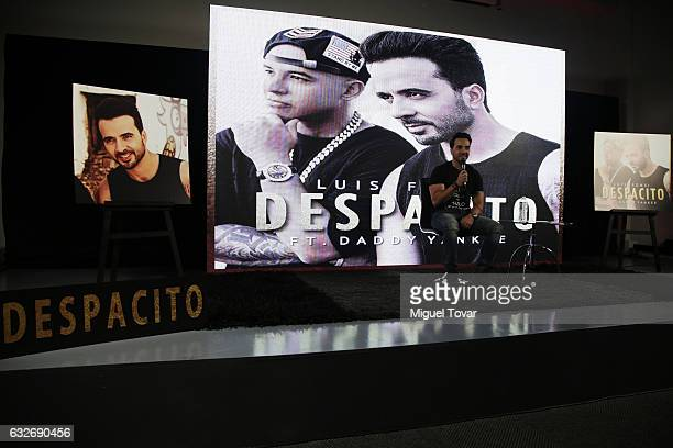 Singer Luis Fonsi speaks during a press conference to promote his new single 'Despacito' featurin Daddy Yankee in Mexico City at Universal Music on...