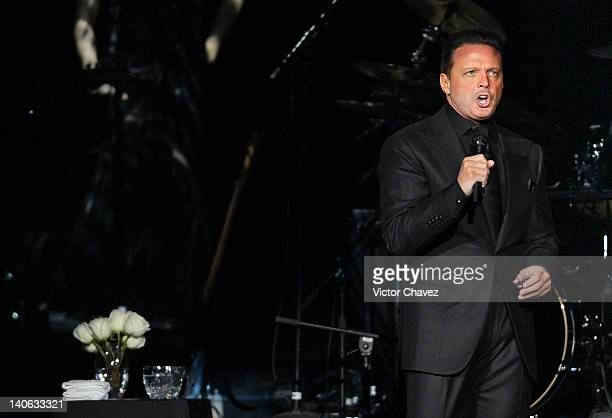Singer Luis Miguel performs at the new Arena Ciudad de Mexico on February 25 2012 in Mexico City Mexico