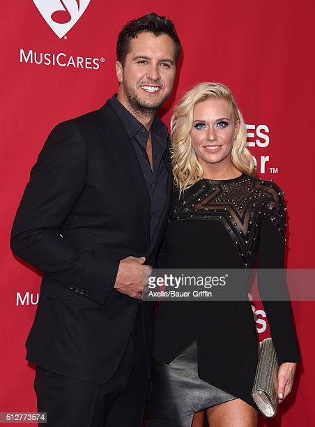 Singer Luke Bryan and Caroline Boyer Bryan arrive at the 2016 MusiCares Person of the Year honoring Lionel Richie at Los Angeles Convention Center on...