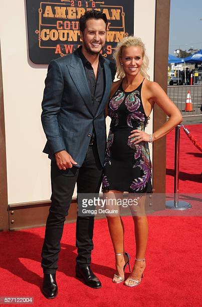 Singer Luke Bryan and wife Caroline Boyer arrive at the 2016 American Country Countdown Awards at The Forum on May 1 2016 in Inglewood California