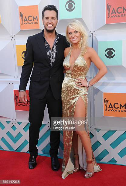 Singer Luke Bryan and wife Caroline Boyer arrive at the 51st Academy Of Country Music Awards at MGM Grand Garden Arena on April 3 2016 in Las Vegas...