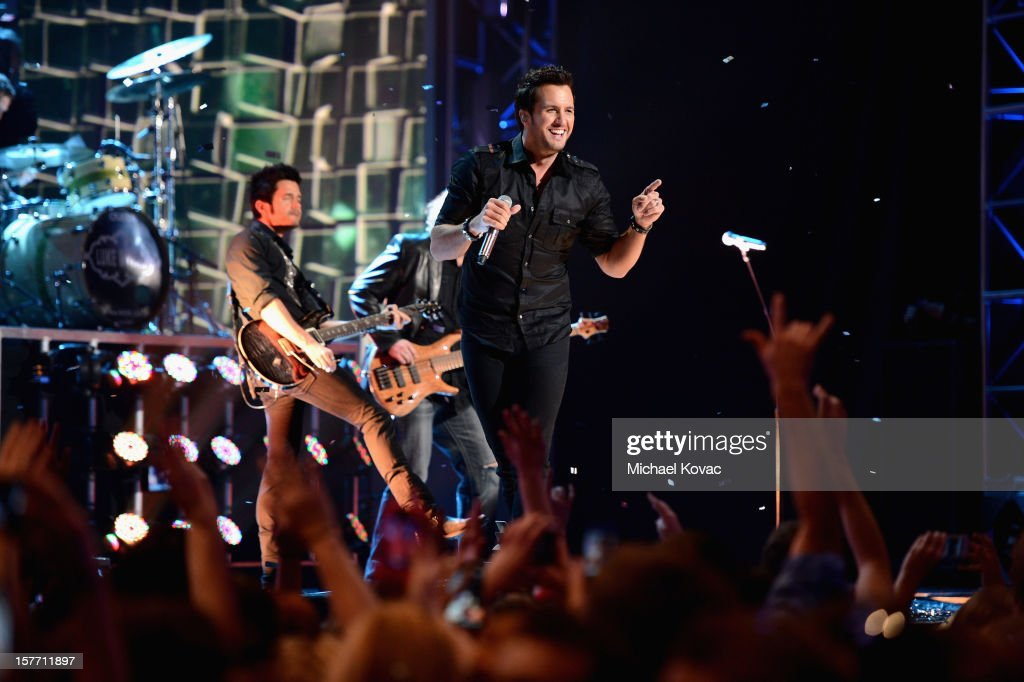 Singer <a gi-track='captionPersonalityLinkClicked' href=/galleries/search?phrase=Luke+Bryan&family=editorial&specificpeople=4001956 ng-click='$event.stopPropagation()'>Luke Bryan</a> performs onstage at The GRAMMY Nominations Concert Live!! held at Bridgestone Arena on December 5, 2012 in Nashville, Tennessee.