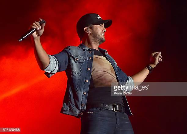 Singer Luke Bryan performs onstage during 2016 Stagecoach California's Country Music Festival at Empire Polo Club on May 01 2016 in Indio California