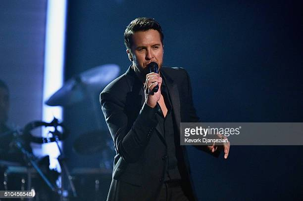 Singer Luke Bryan performsonstage during The 58th GRAMMY Awards at Staples Center on February 15 2016 in Los Angeles California
