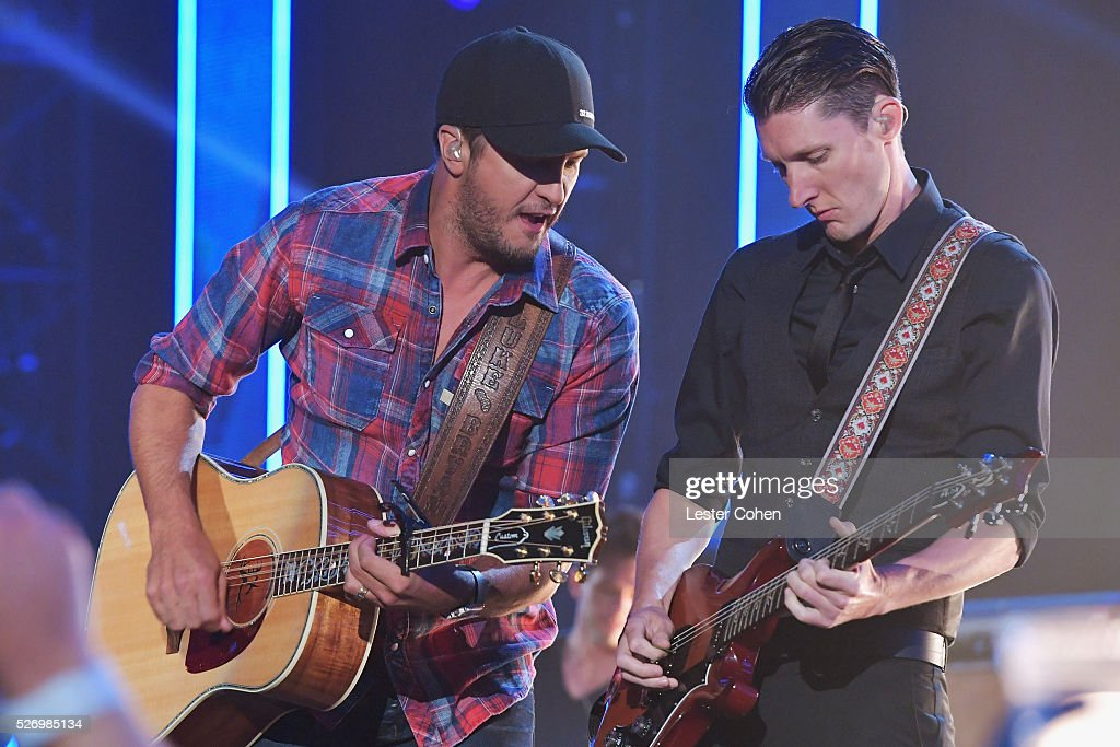 Singer Luke Byan (L) performs onstage during the 2016 American Country Countdown Awards at The Forum on May 1, 2016 in Inglewood, California.