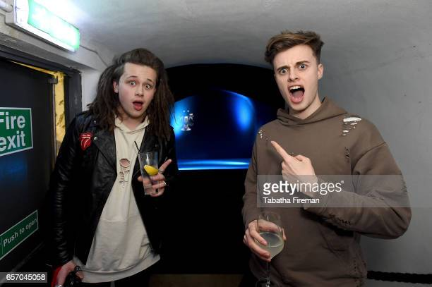 Singer Luke Friend and guest attend the 'Ghost in The Shell' London Gala Screening after party at Lights of Soho on March 23 2017 in London United...