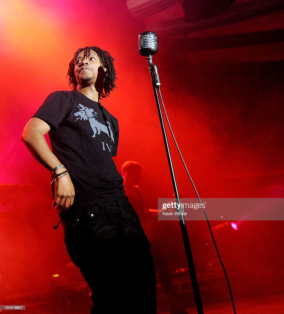 Singer <a gi-track='captionPersonalityLinkClicked' href=/galleries/search?phrase=Lupe+Fiasco&family=editorial&specificpeople=540344 ng-click='$event.stopPropagation()'>Lupe Fiasco</a> performs at the Hollywood Palladium on October 17, 2012 in Hollywood, California.
