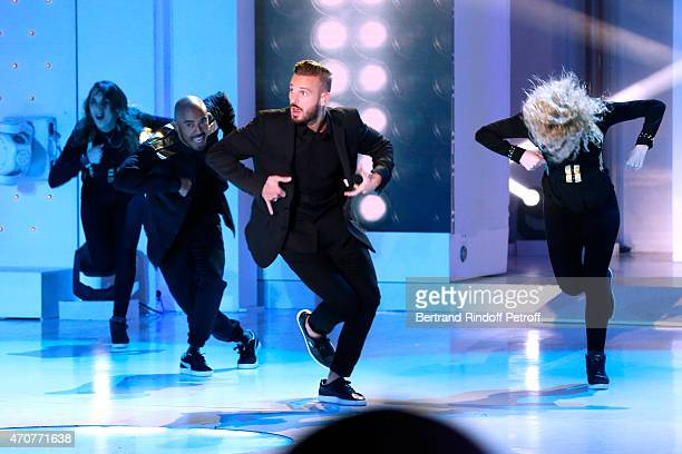 Singer M Pokora performs and present his new Album 'RED' during the 'Vivement Dimanche' French TV at Pavillon Gabriel on April 22 2015 in Paris France