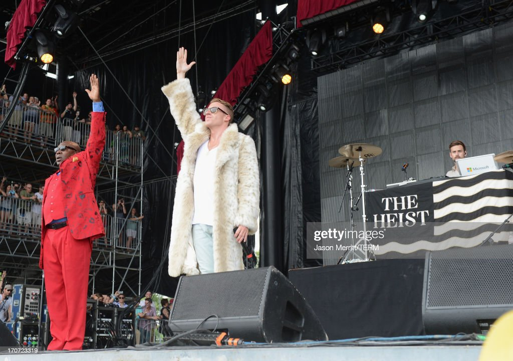 Singer, Macklemore and Ryan Lewis perform onstage at What Stage during day 4 of the 2013 Bonnaroo Music & Arts Festival on June 16, 2013 in Manchester, Tennessee.