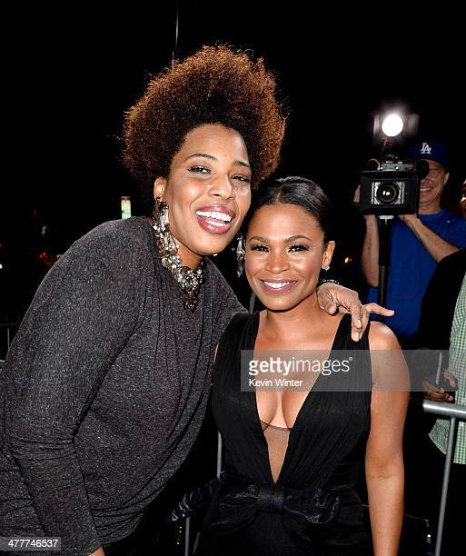 Singer Macy Gray and actress Nia Long arrive at the premiere of Tyler Perry's 'The Single Moms Club' at the Cinerama Dome on March 10 2014 in Los...