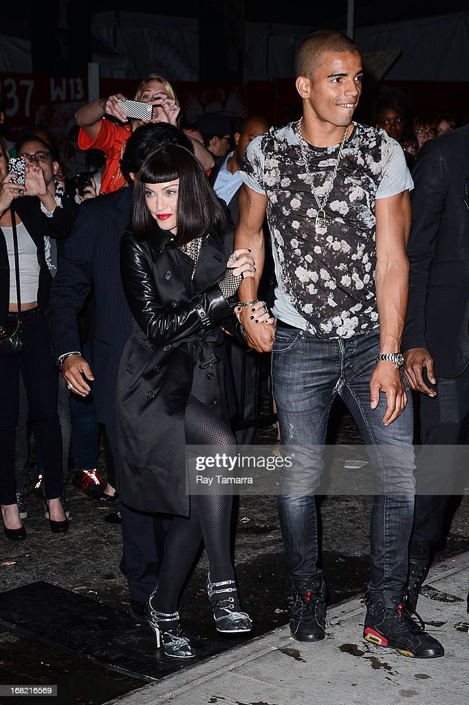 Singer Madonna (L) and Brahim Zaibat enter the 'PUNK: Chaos To Couture' Costume Institute Gala after party at the Standard Hotel on May 6, 2013 in New York City.