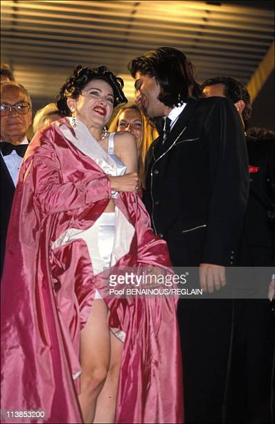 Singer Madonna and director Alek Keshishian present 'In Bed With Madonna' at Cannes Film Festival in Cannes France on May 13 1991