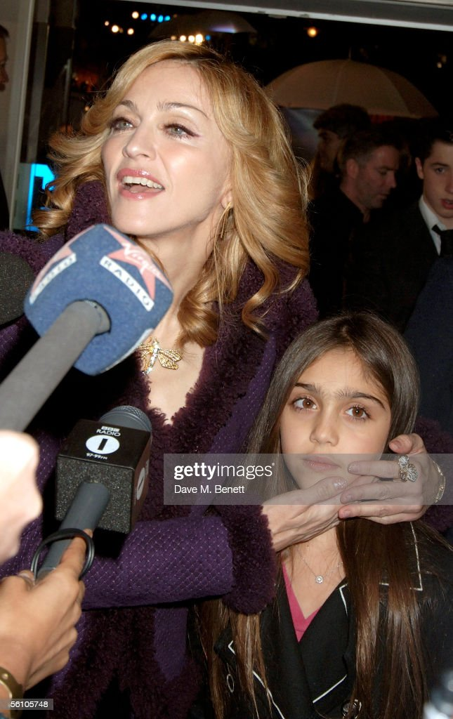 Singer <a gi-track='captionPersonalityLinkClicked' href=/galleries/search?phrase=Madonna+-+Singer&family=editorial&specificpeople=156408 ng-click='$event.stopPropagation()'>Madonna</a> and her daughter Lourdes are interviewed as they arrive at the World Premiere of 'Harry Potter And The Goblet Of Fire' at the Odeon Leicester Square on November 6, 2005 in London, England. The film is based on the fourth installment of author J.K. Rowling's novel series.
