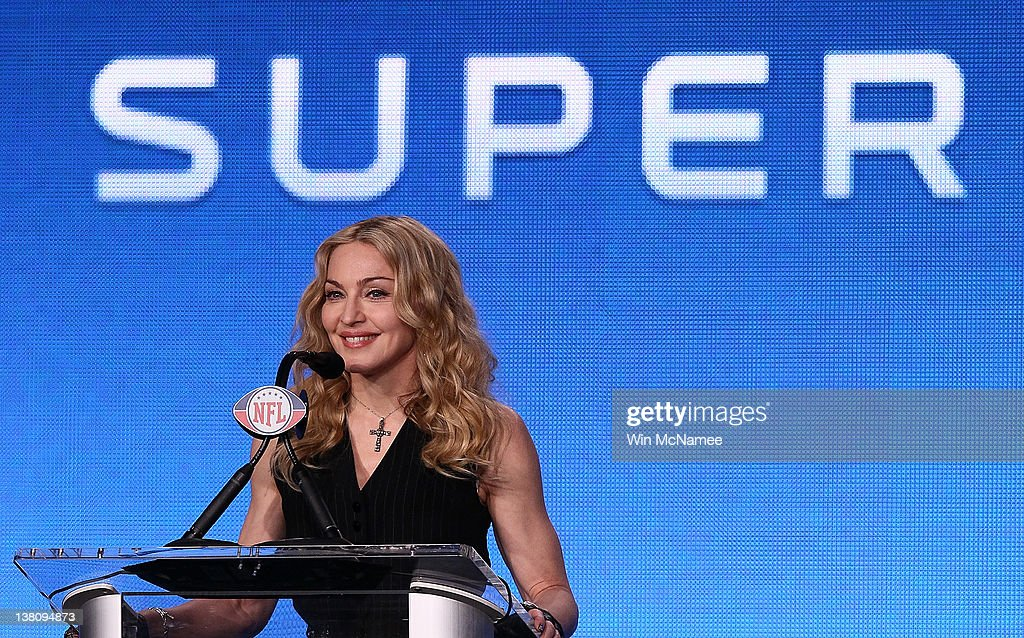 Singer Madonna appears during a press conference for the Bridgestone Super Bowl XLVI halftime show at the Super Bowl XLVI Media Center in the J.W. Marriott Indianapolis on February 2, 2012 in Indianapolis, Indiana.