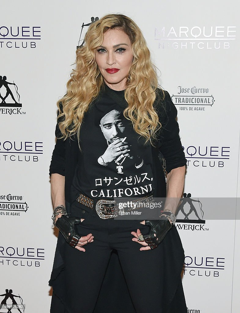 Singer <a gi-track='captionPersonalityLinkClicked' href=/galleries/search?phrase=Madonna+-+Singer&family=editorial&specificpeople=156408 ng-click='$event.stopPropagation()'>Madonna</a> arrives at the Marquee Nightclub at The Cosmopolitan of Las Vegas to host an after party for her Rebel Heart Tour concert stop on October 25, 2015 in Las Vegas, Nevada.