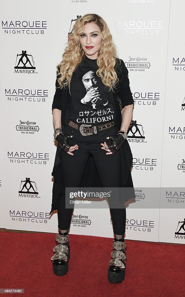 Singer Madonna arrives at the Marquee Nightclub at The Cosmopolitan of Las Vegas to host an after party for her Rebel Heart Tour concert stop on October 25, 2015 in Las Vegas, Nevada.