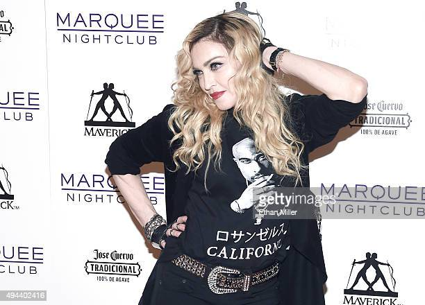 Singer Madonna arrives at the Marquee Nightclub at The Cosmopolitan of Las Vegas to host an after party for her Rebel Heart Tour concert stop on...