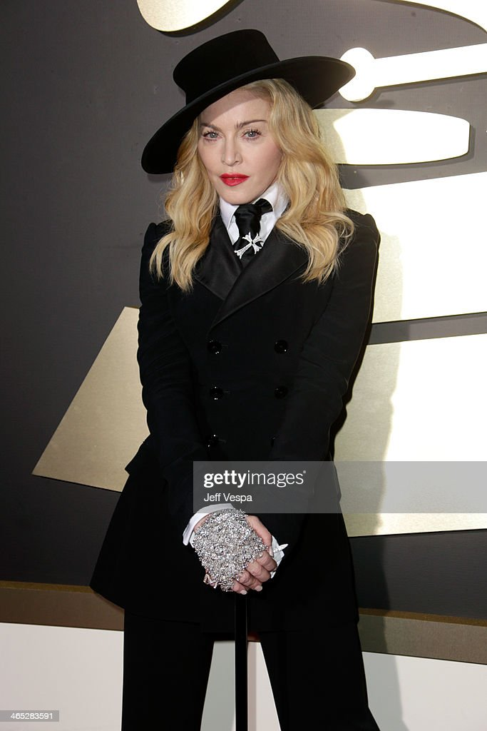 Singer Madonna attends the 56th GRAMMY Awards at Staples Center on January 26 2014 in Los Angeles California