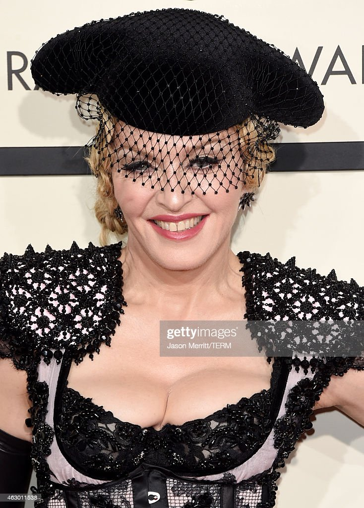 Singer <a gi-track='captionPersonalityLinkClicked' href=/galleries/search?phrase=Madonna+-+S%C3%A4ngerin&family=editorial&specificpeople=156408 ng-click='$event.stopPropagation()'>Madonna</a> attends The 57th Annual GRAMMY Awards at the STAPLES Center on February 8, 2015 in Los Angeles, California.