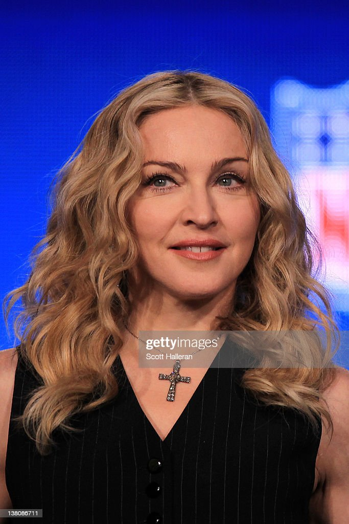 Singer Madonna looks on during a press conference for the Bridgestone Super Bowl XLVI halftime show at the Super Bowl XLVI Media Center in the J.W. Marriott Indianapolis on February 2, 2012 in Indianapolis, Indiana.