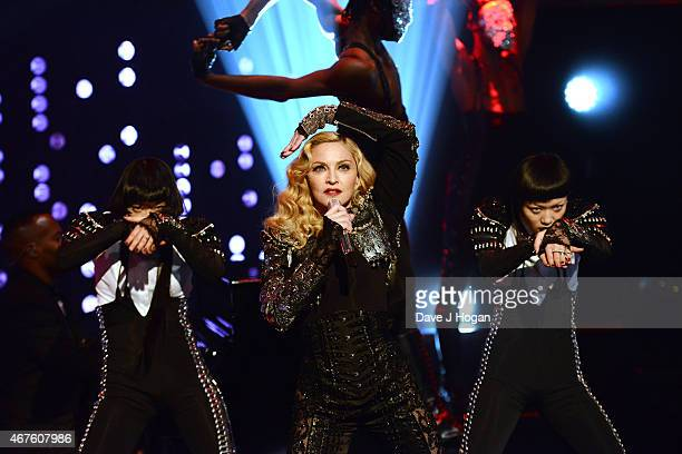 Singer Madonna makes an appearance on The Jonathan Ross Show at the ITV Studios on February 26 2015 in London England