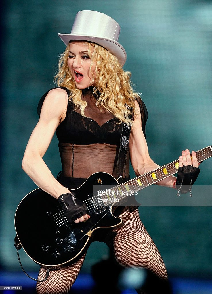Singer <a gi-track='captionPersonalityLinkClicked' href=/galleries/search?phrase=Madonna+-+S%C3%A4ngerin&family=editorial&specificpeople=156408 ng-click='$event.stopPropagation()'>Madonna</a> performs at the MGM Grand Garden Arena November 8, 2008 in Las Vegas, Nevada. <a gi-track='captionPersonalityLinkClicked' href=/galleries/search?phrase=Madonna+-+S%C3%A4ngerin&family=editorial&specificpeople=156408 ng-click='$event.stopPropagation()'>Madonna</a>'s Sticky & Sweet Tour is in support of her latest album, 'Hard Candy.'