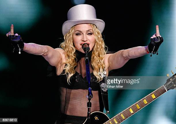 Singer Madonna performs at the MGM Grand Garden Arena November 8 2008 in Las Vegas Nevada Madonna's Sticky Sweet Tour is in support of her latest...