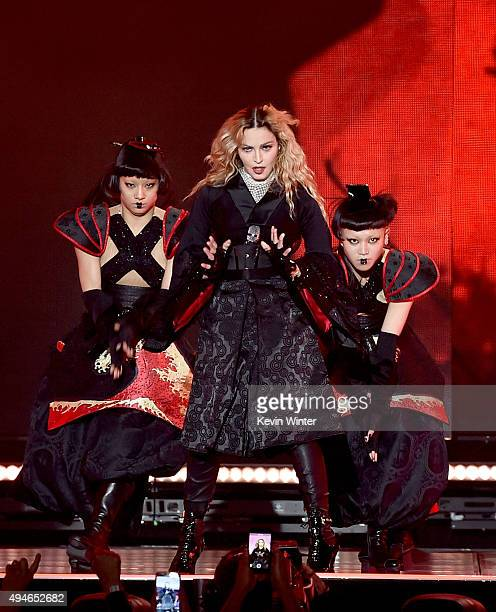 Singer Madonna performs during her 'Rebel Heart' tour at the Forum on October 27 2015 in Inglewood California